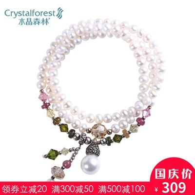 采用施华洛世奇元素奥地利水晶手链淡水真珍珠多层带手上的饰品女
