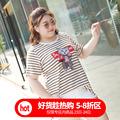 甜觅大码女装2018胖mm夏装洋气韩版猫咪图案胖妹妹200斤条纹T恤潮