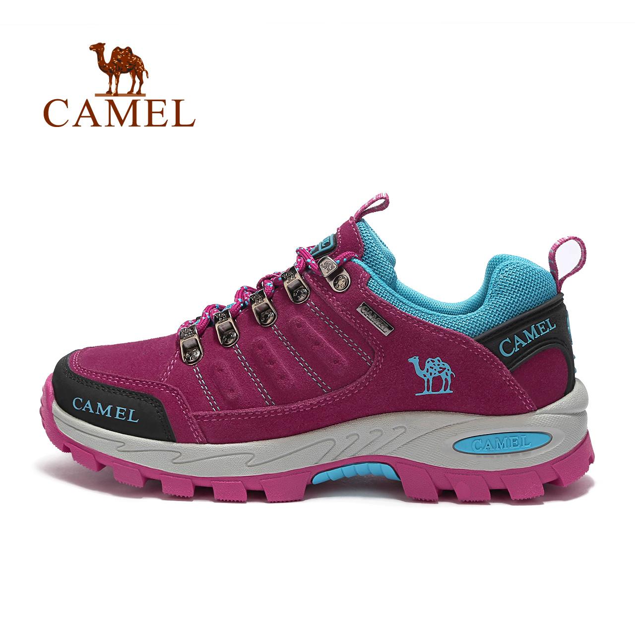 骆驼女鞋中老年反绒皮登山鞋女 CAMEL骆驼情侣款徒步鞋男女防滑
