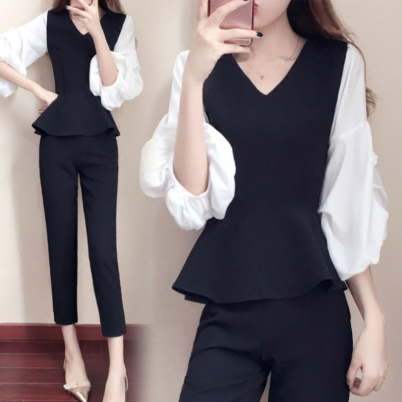 2018 Summer Professional Women's Casual Office OL Puff Sleeve Slim Fit