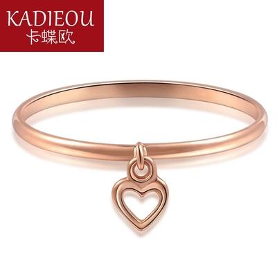 卡蝶欧玫瑰金戒指心形镂空光面细指环淑女学生食指彩金女戒