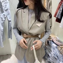Temperament Leisure Summer New Korean Edition Women's Chi Suit with Simple and Beautiful Belt and Armor Suit