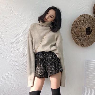 chic秋冬季新款裤子pu皮拼接格子粗花呢短裤女加绒宽松阔腿裤