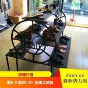 中岛柜展示柜圆形化妆品鞋店产品展柜木质货架母婴阶梯货柜陈列柜