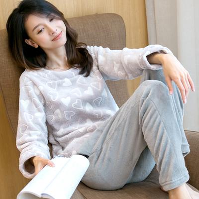 睡衣女冬秋季长袖加厚甜美可爱韩版法兰绒家居服珊瑚绒睡衣女套装