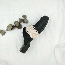 GUIDIUMAWANG dark retro-made Old Ed lace slippers with soft leather, round head, thick heels and hand-made overshoes