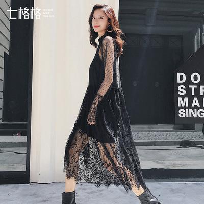 欧美蕾丝连衣裙秋装女2018新款中长款波点网纱拼接性感半透打底裙