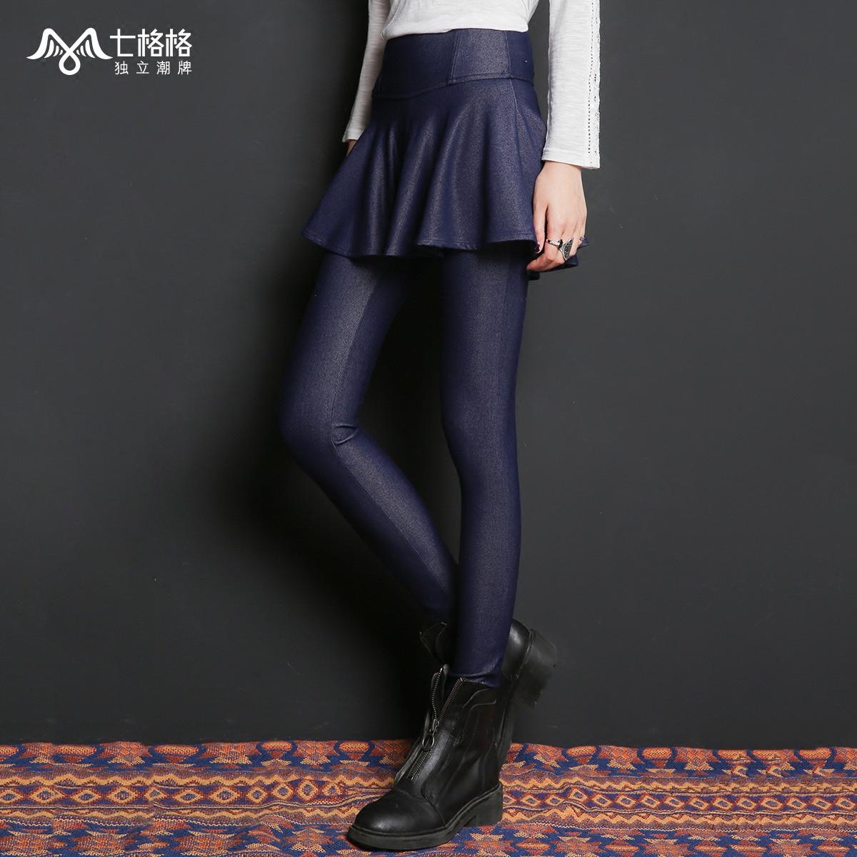 打底裙裤女深蓝色