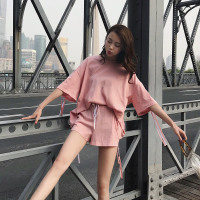 2018夏装两件套剪标品牌折扣女装宽松蝙蝠袖短袖短裤T恤休闲套装