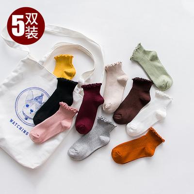 袜子女夏季棉袜薄款浅口韩版可爱学院风短袜日系木耳边花边中筒袜