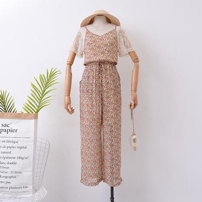 【冰点直降】H¥2 秋季网纱透视上衣+碎花吊带连体裤套装女