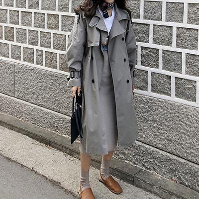 秋装女2018新款灰色风衣女中长款韩版春季外套女ulzzang港风女装