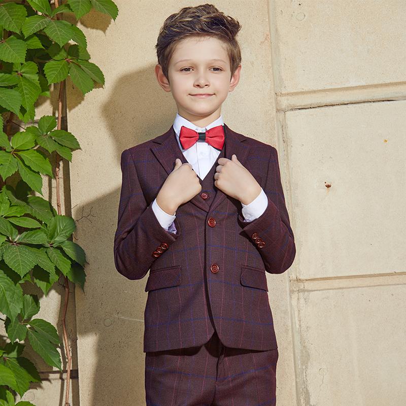 男童礼服套装儿童西服三件套英伦风中大童主持人服装男演出服潮