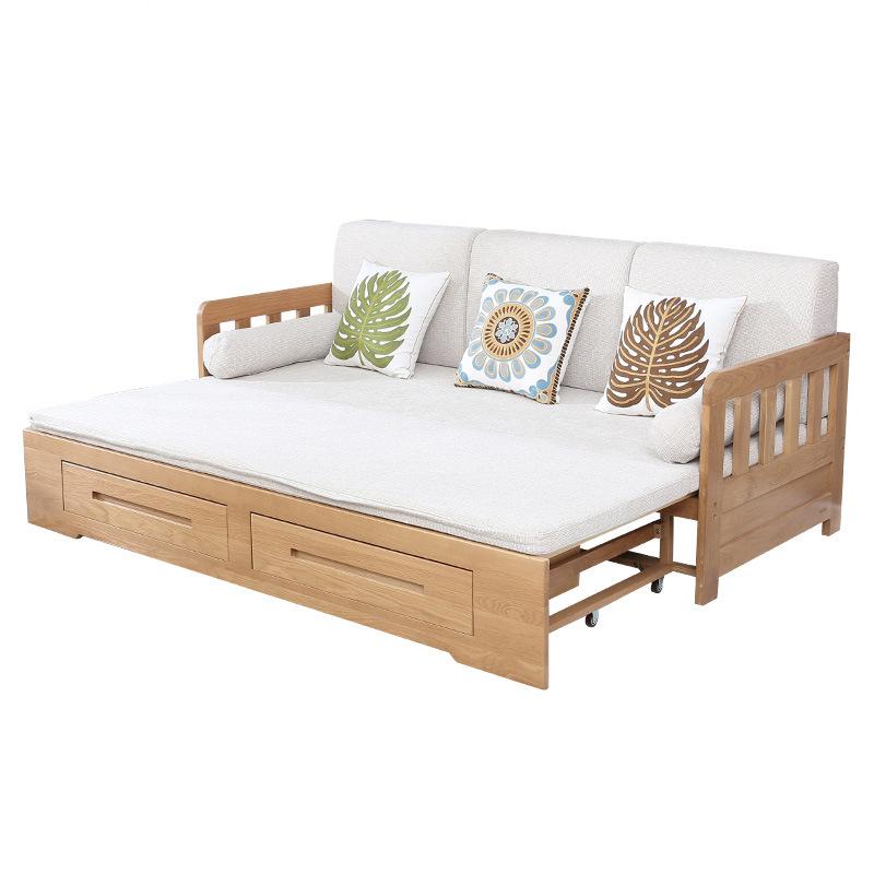 新品新款北美白橡木沙发床 客厅实木沙发可抽拉实木床来自上海