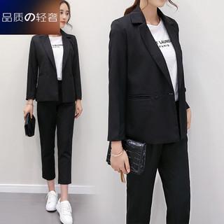韩国新款2019春装时尚女装套装休闲网红小西装外套女装两件套潮