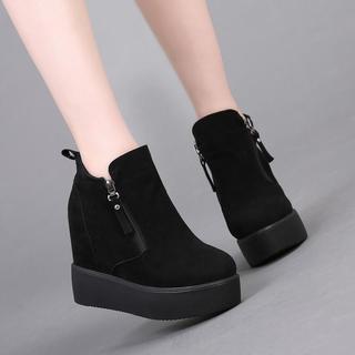 磨砂短靴女靴子秋冬马丁靴内增高女鞋厚底坡跟加绒棉靴2018新款潮