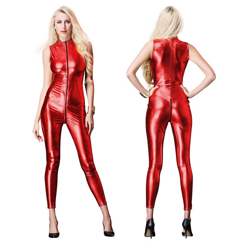 pu连体紧身皮裤她秘漏出女士超薄款情趣皮衣性感户外老婆大码性感