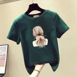 香港潮牌2019夏季新款大码女装洋气半袖上衣200斤胖mm宽松短袖t恤
