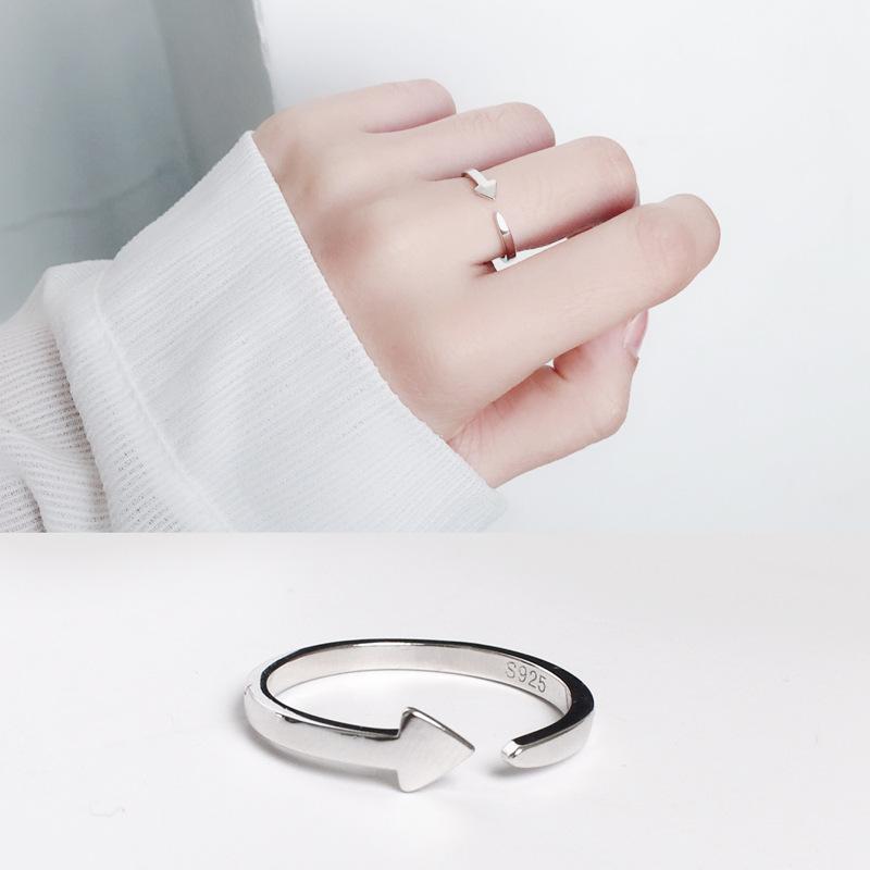 925纯女款个性箭头指环时尚气质百搭开口戒指饰品原创银简约