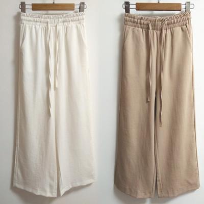 夏季新款亚麻裤子女裤韩版时尚修身显瘦微喇长裤麻料阔腿裤女裤