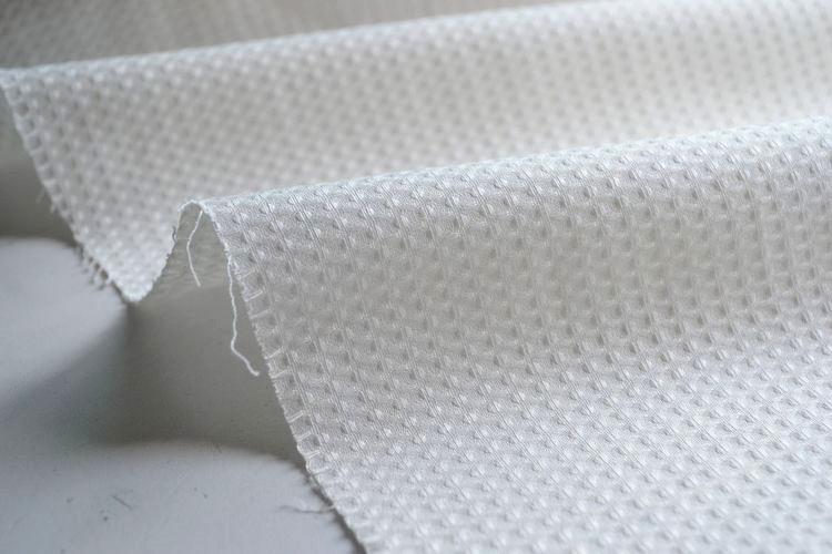 纯棉 白色经典华夫格子时装面料 套装 连衣裙洋气布料手工DIY面料