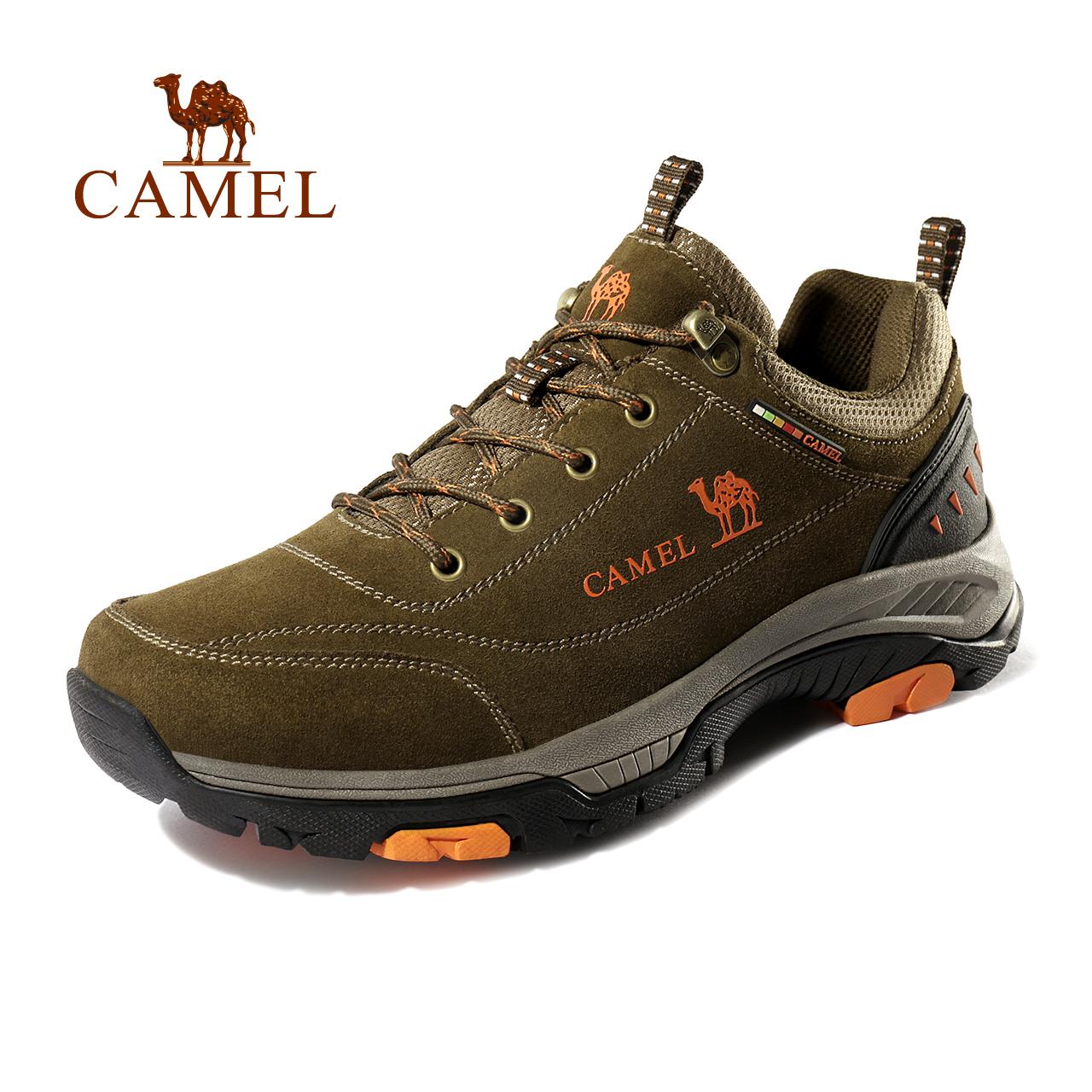 駱駝戶外登山鞋男女反絨牛皮防滑耐磨徒步鞋防撞透氣減震低幫鞋