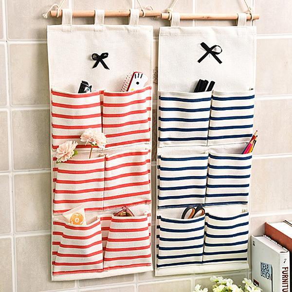 创意韩版格子布衣收纳袋大号收纳挂袋 居家墙上挂式整理衣柜收纳