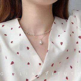 ins网红双层珍珠项链女锁骨链韩版个性简约短款颈带脖链choker潮图片