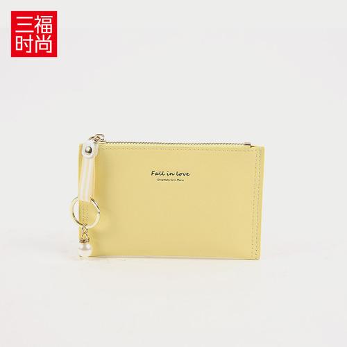 三福2018夏季新款韩版清新织带吊饰短款单拉迷你女士零钱包381218