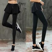 速干训练瑜伽高腰显瘦长裤 女假两件跑步运动弹力紧身九分裤 健身裤