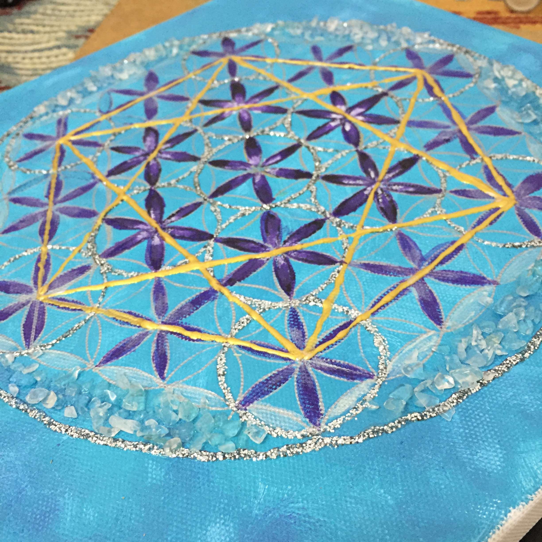 埃及生命之花手绘疗愈白水晶碎石能量满满油画瑜伽馆玄关挂件装修
