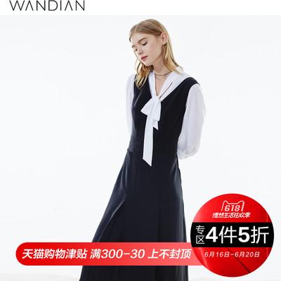 婉甸2018夏新品女装黑色无袖时尚复古显瘦连衣裙1172N04312