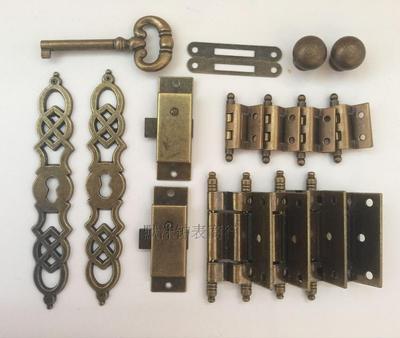 落地钟门金属配件 DIY古董钟仿古五金件钟门机械钟钟钥匙合页锁芯