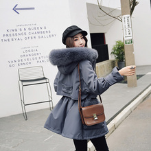 Female Korean version of down jacket with large collar and thick white duck down pie to overcome small size