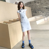 Cheongsam 2019 summer fashion new improved version of the young girl low collar short paragraph large size Chinese style dress