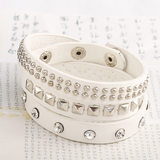 Boy PU Leather Bracelet Black White rivet drill three circles multi-layer punk children's performance bracelet Jewelry Bracelet