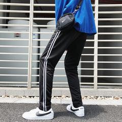 条纹休闲直筒裤