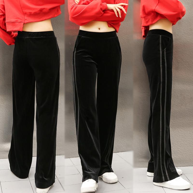金丝绒女裤高腰