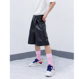 CLP black leather tooling elastic 7 points pants male ins Harajuku style hip-hop brand over the knee casual shorts net red