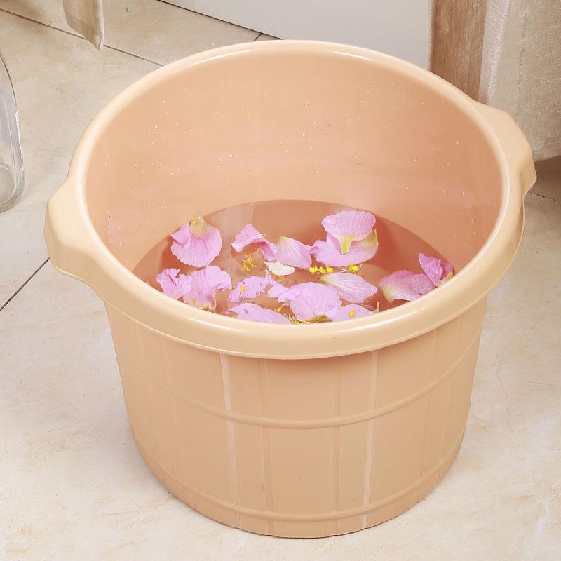 破损包赔 帛美 加厚按摩足浴桶足疗桶塑料泡脚桶足浴盆家用洗脚盆