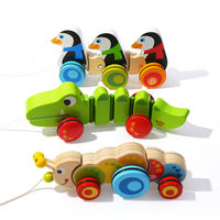 Children dragging toddler toys 1-3 years old baby hand pull rope pull will run wooden baby learn to walk toy car