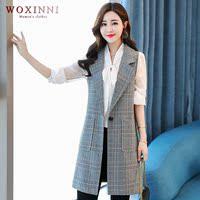 WOXINNI2018秋季新款气质通勤女士马甲时尚格子西装领无袖XJ806