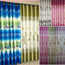 绿色竹子图案山水国画阳台房间卧室遮挡光落地窗帘挂钩成品当天