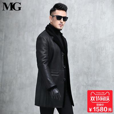 2018新款男士真皮皮衣中长款西装外套韩版修身绵羊皮皮草皮毛一体