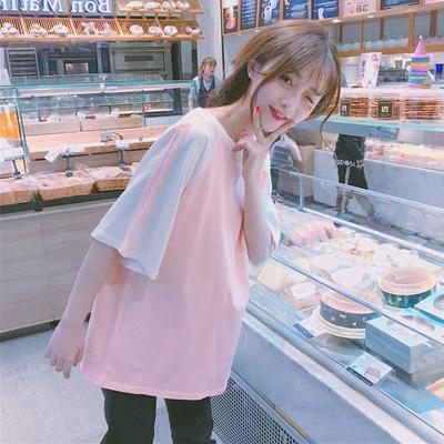 半袖短袖T恤女小清新萌夏装2018新款日系宽松拼色怪味少女上衣服