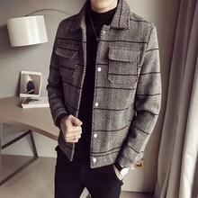 潮流青年翻领呢子夹克学生格子大衣男 毛呢外套男短款 风衣冬季韩版图片