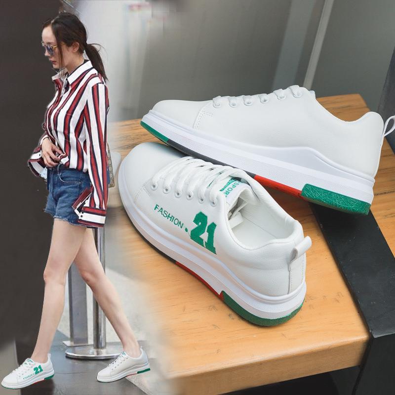 皮面小白鞋女2018春秋新款百搭韩版系带运动鞋厚底学生白色板鞋子