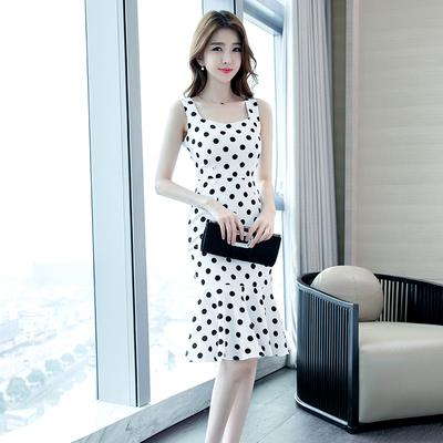 新款女装夏天裙子性感气质白色波点修身包臀无袖鱼尾中长款连衣裙