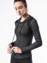 运动t恤女瑜伽上衣弹力 跑步速干长袖 正品 轩尧耐克泰连帽套头罩衫图片