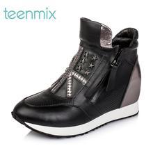 【清仓特卖】天美意冬季专柜同款牛皮女短靴2AL59DD5图片